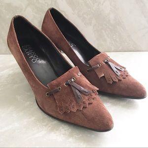 Franco Sarto Brown Suede Kiltie Heels-Size 8.5